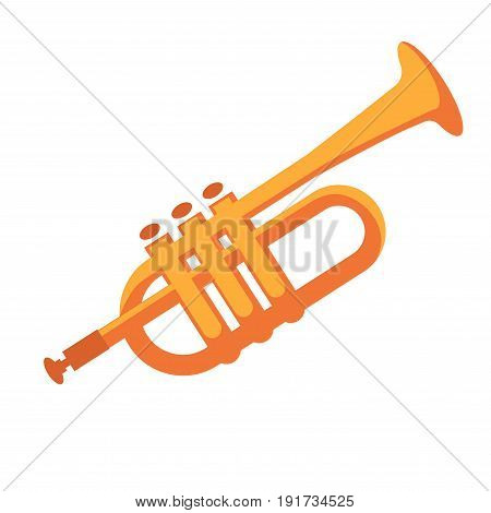 Golden shiny pipe for musical performances isolated vector illustration on white background. Wind instrument that takes part in orchestra with three small keys and of carved shape, made of metal.