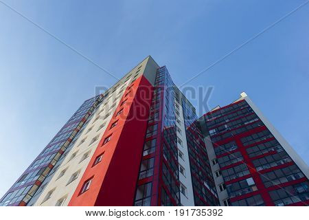 Apartment Building.multistoried Modern And Stylish Living Block Of Flats. Real Estate. New House.rea