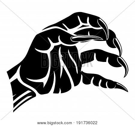 Sign of werewolf's hand on a white background.