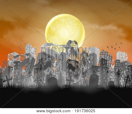 ruined city building  silhouette with moon and red sky