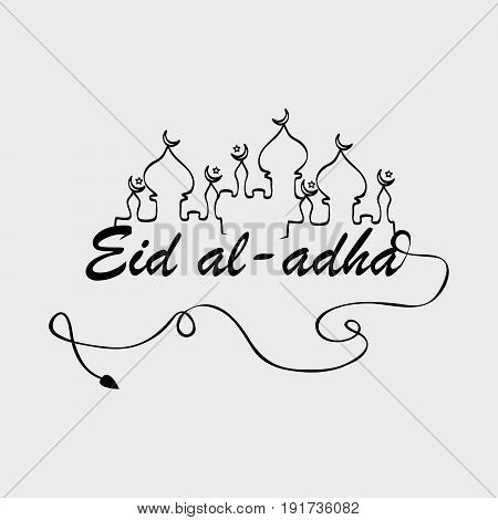 illustration of Mosque with eid al adha text on occasion of Muslim festival Eid al adha