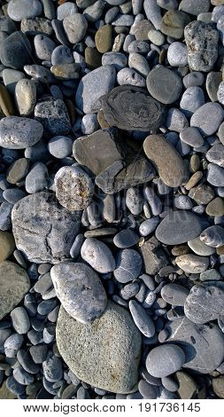 Pebbles on the sea shore. Vertical view