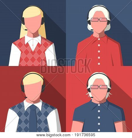 Male and female silhouettes of call center operators for user profile picture. Avatars of men and women with headset. Vector icon in flat style.