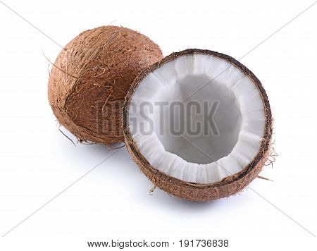 Healthy Food. Fresh Coconut With Half