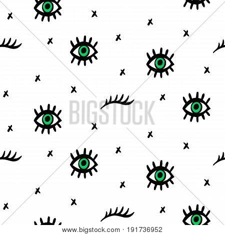 Vector Seamless pattern with hand drawn open and winking psychedelic eyes and lashes isolated on white. Fashion background, textile print