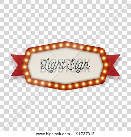 Light Signage with glow Lamps and Ribbon for Cafe or Theater. Vector Illustration