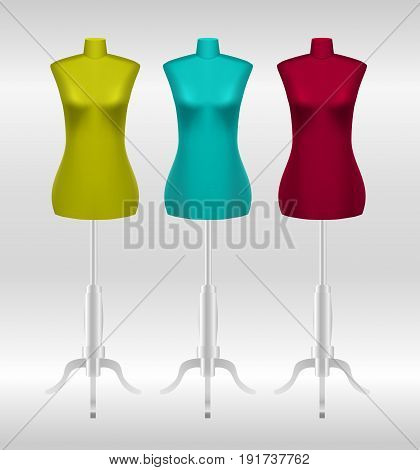 Three female tailors dummy mannequins isolated on white background