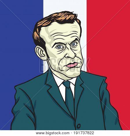 Emmanuel Macron Cartoon Caricature Portrait Vector. Paris, June 19, 2017