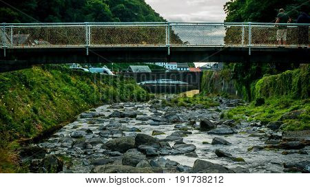 Lynmouth; Lyn River; Devon; UK; From Bridge by Confluence of East and West Lyn Rivers