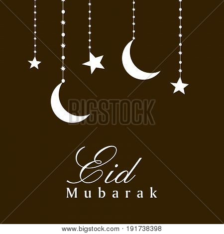 illustration of hanging stars and moon with eid mubarak text on occasion of Muslim festival Eid