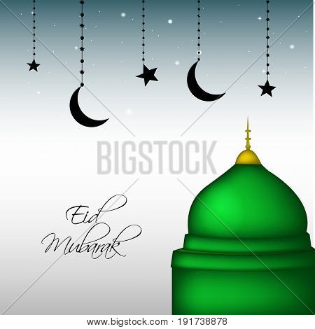 illustration of Mosque hanging moon stars with eid mubarak text on occasion of Muslim festival Eid