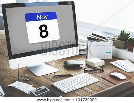 Illustration of calendar schedule personal organizer on computer