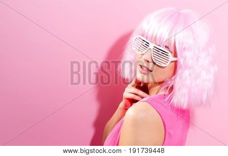 Beautiful Woman In A Bright Pink Wig