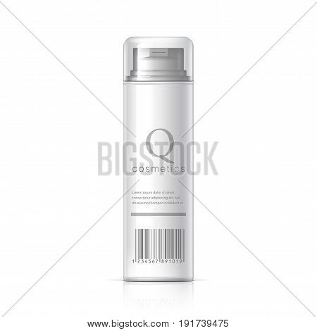 Realistic White Shaving Foam Aerosol. Cosmetics bottle can Spray Deodorant Air Freshener. With lid. White black and gray colors. Object shadow and reflection on separate layers. Vector illustration