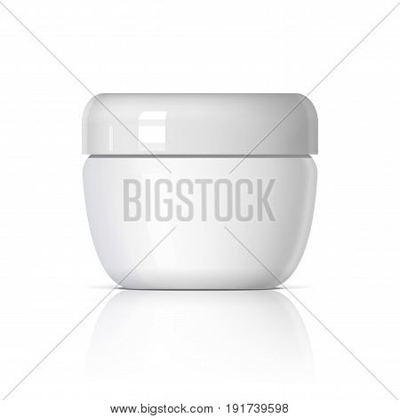 Realistic cosmetic jar on a white background. Cosmetic package collection for cream soups foams. Mock up set for brand template. vector illustration.