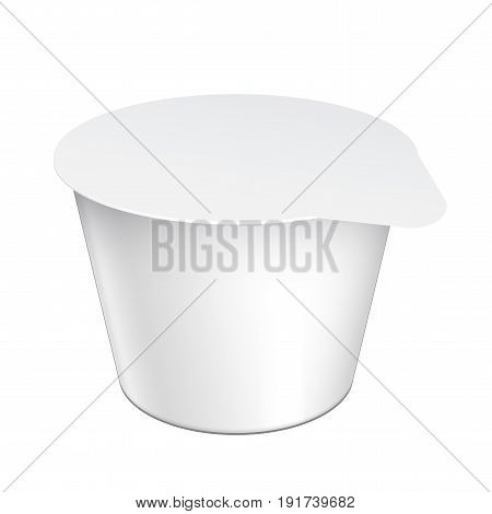 Realistic White Mock up blank plastic container for yogurt jams and other products.