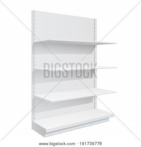 Advertising POS POI Display Rack Shelves For Supermarket Floor Showcase on the white background. Slender white shelves. Mock Up Template. Vector illustration.