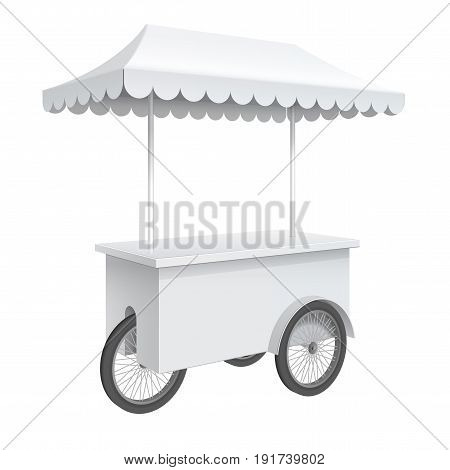 Advertising POS POI Promotion counter on wheels and a triangular roof covered Retail Trade Stand Isolated on the white background. MockUp Template For Your Design. Vector illustration.
