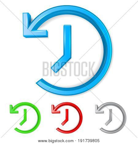 Set of 3D shiny backup symbols on white background - vector illustration