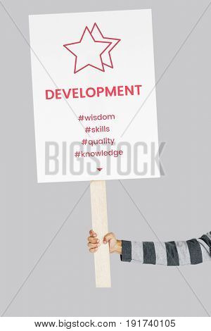 People holding Placard with star development icon