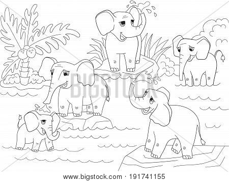 Family of African elephants coloring book for children cartoon vector illustration. Black and white