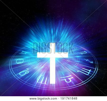 White Light Cross On Sacred Geometry Element Background
