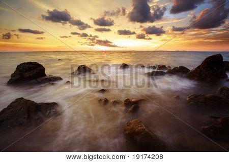 Tropical sunset on the beach. Lanta island. Thailand