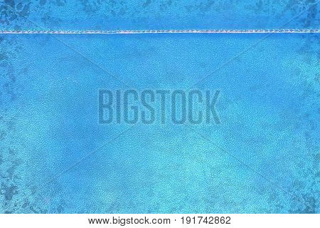 Blue grunge old shabby leather with seam - creative still for any purpose