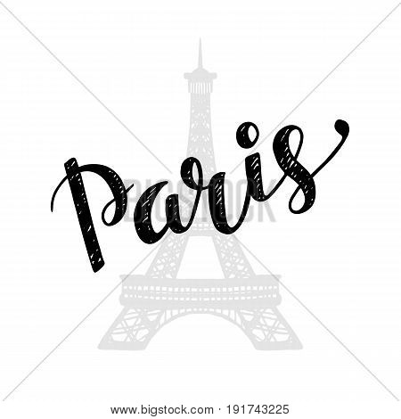 Paris trendy card design with hand drawn lettering, vector illustration