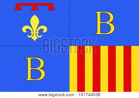 Flag of Brignoles is a commune in the Var departement in the Provence-Alpes-Cote d'Azur region in southern France. Vector illustration