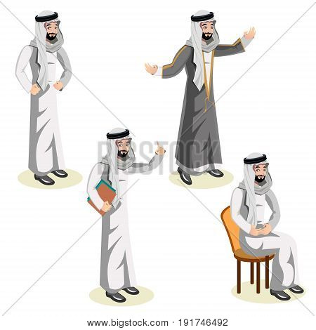 Set of arab man character. Set of arab. Vector illustration