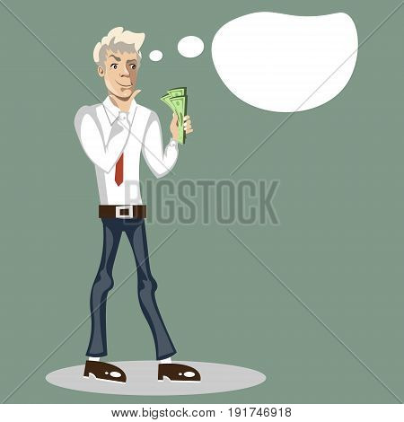 Man thinks where to spend money. Vector illustration