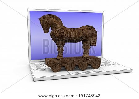 Trojan horse notebook white background 3d illustration