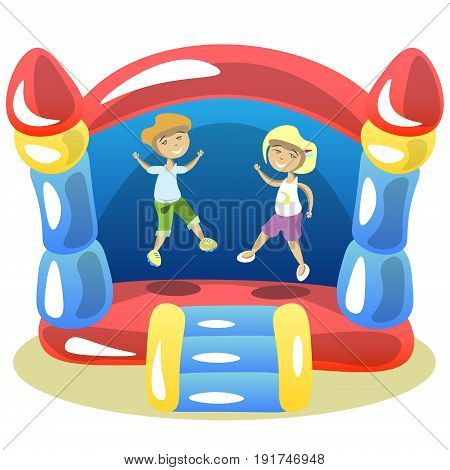 Children are jumping on a trampoline. Vector illustration.