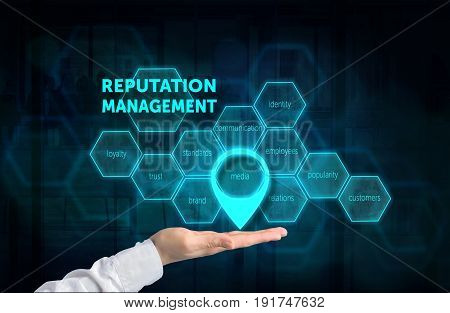 Reputation Management concept. Protecting gesture of businessman and symbol of a chart with related keywords over business background. Highlighted media