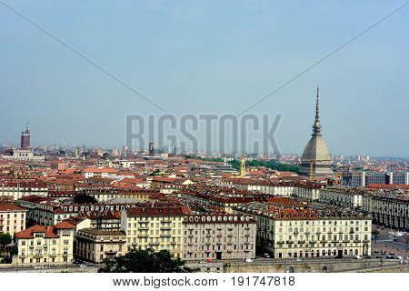 Cityscape of Turin (Turin, Italy) with the Mole Antonelliana that stands above the houses.