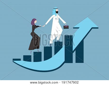 Arab business man and woman in arabian national dress walking up a rising graph of income growth. Vector illustration, isolated on blue background.
