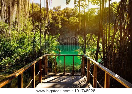 Magnificent view of the mystery cave in the jungle with sun rays and wooden bridge in the underground lake. The 3 Eyes National Park (Los Tres Ojos) in Santo Domingo Caribbean Dominican Republic