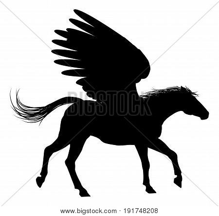 A Pegasus mythical winged horse in Silhouette