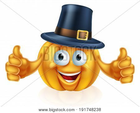 A cartoon thanksgiving pilgrim hat pumpkin man mascot character