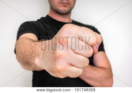 Close-up Of Clenched Fist Ready For Fight