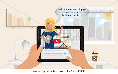 Woman keeps a vlog in tablet pc. Online education and finance training. Business blogger make a free webinar. Flat Vector Illustration.