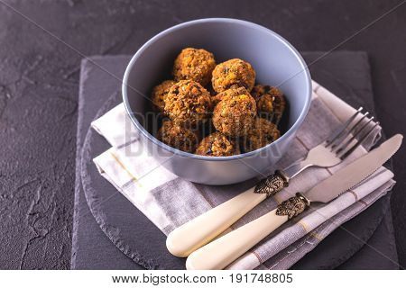 Falafel With Cutlery And Napkin. Jewish Cuisine. Top View