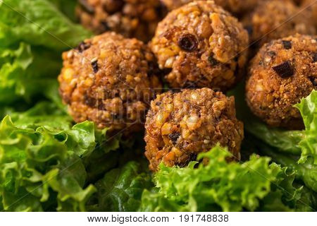 Homemade Falafel With Salad. Jewish Cuisine. Horizontal View