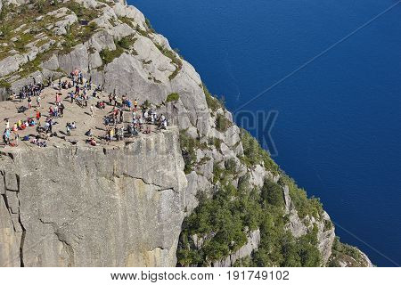 Norwegian fjord landscape. Preikestolen area. Norway landmark landscape. Outdoor