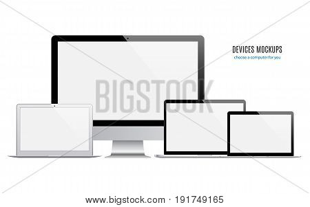 mockup devices: laptops and computer monitor with blank screen isolated on white background. stock vector illustration eps10