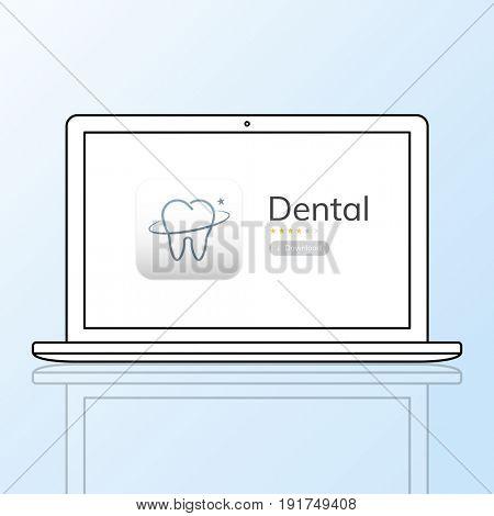 Illustration of dental care application on laptop