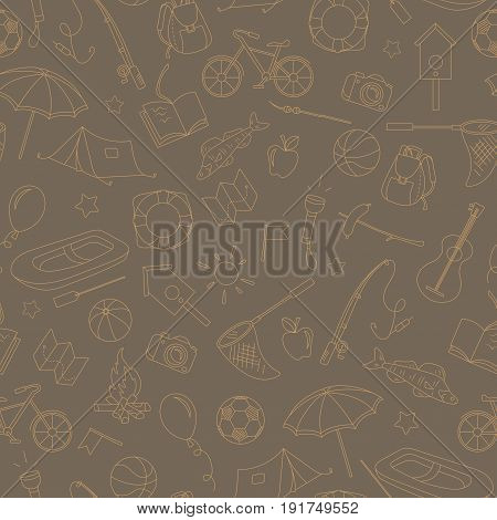 Seamless pattern on the theme of summer camp and vacations simple contour icons beige contour on brown background