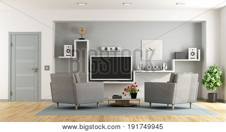 Modern Living Room With Tv