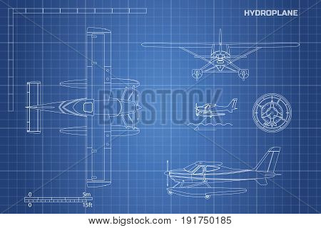 Engineering blueprint of plane. Hydroplane view: top, side and front. Industrial drawing of aircraft. Vector illustration
